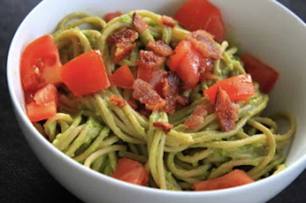 avocado, bacon, and tomato pasta | greens & chocolate