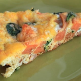 sweet potato, pancetta, and spinach frittata