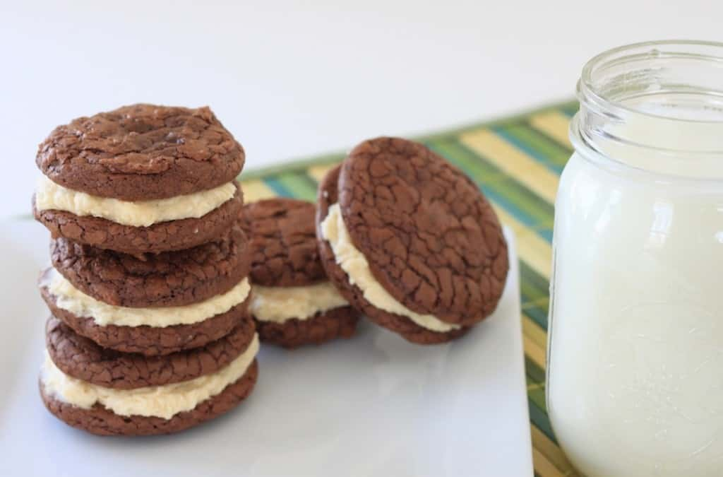brownie cookies with salted caramel filling