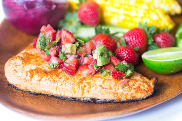 Grilled Salmon with Stawberry Avocado Salsa