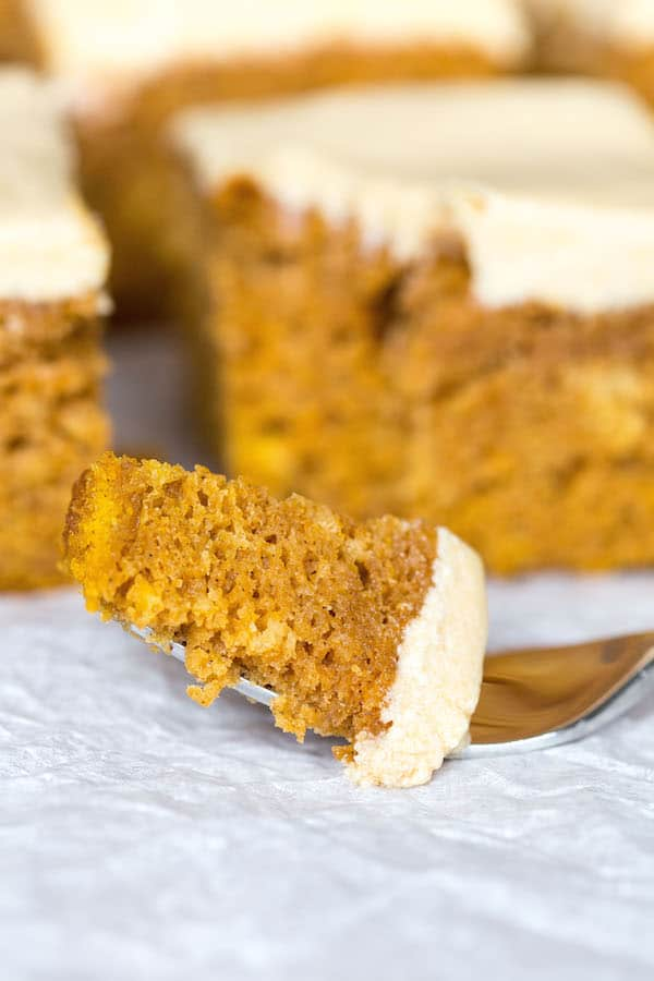 Pumpkin Bars with Salted Caramel Cream Cheese Frosting