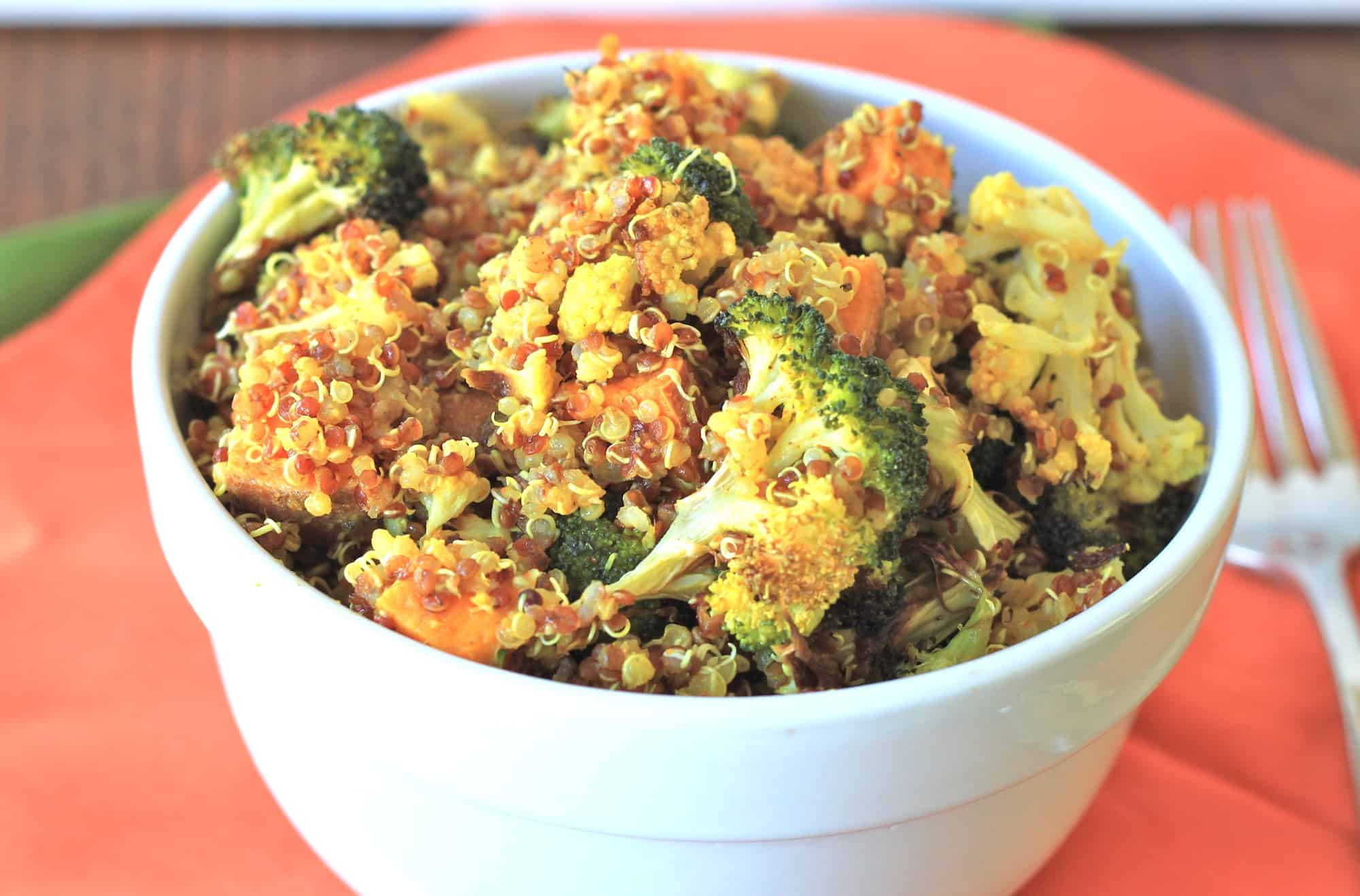 roasted broccoli and sweet potato quinoa salad with curry-lime ...