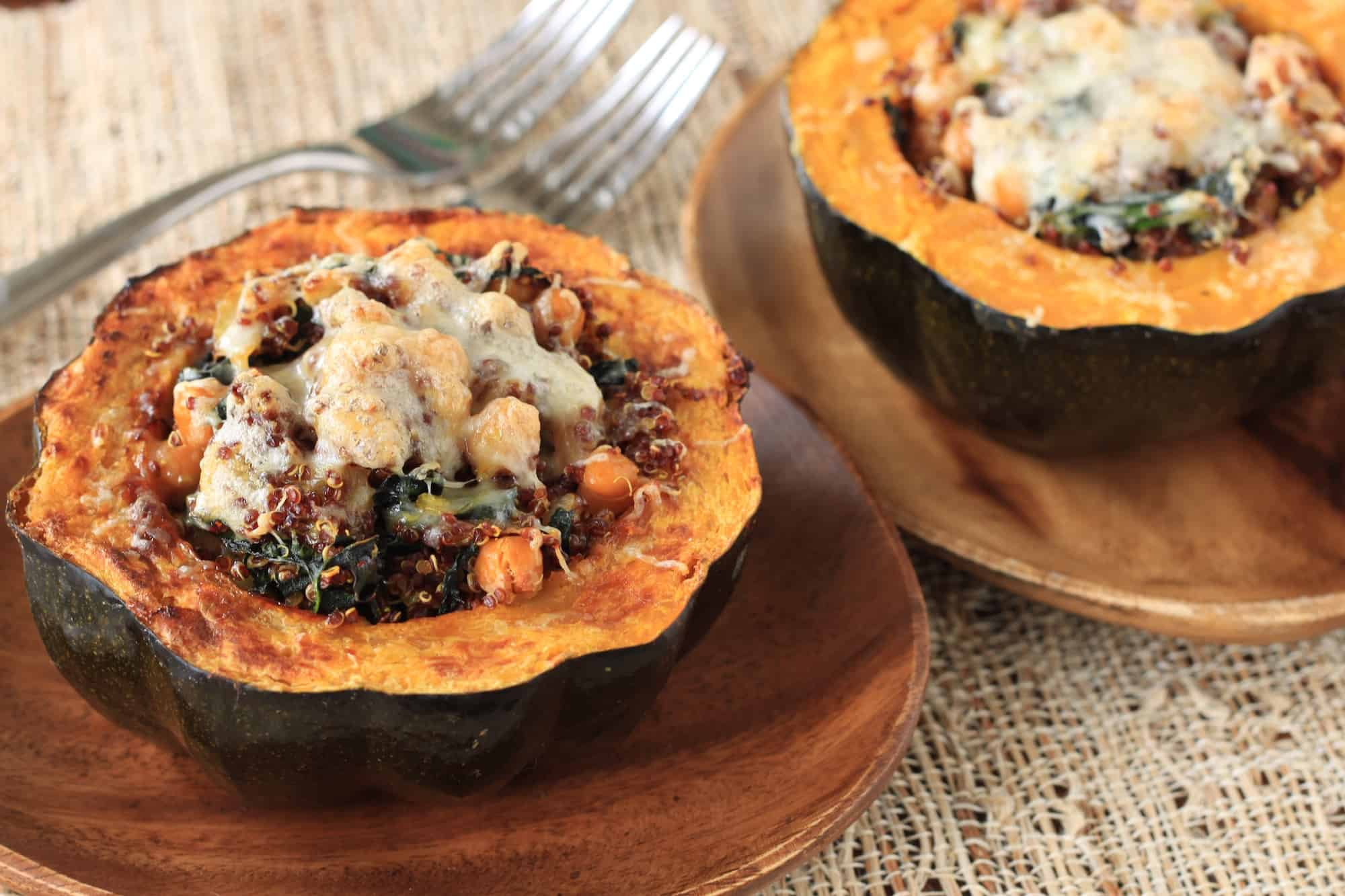 quinoa and kale stuffed acorn squash - greens & chocolate