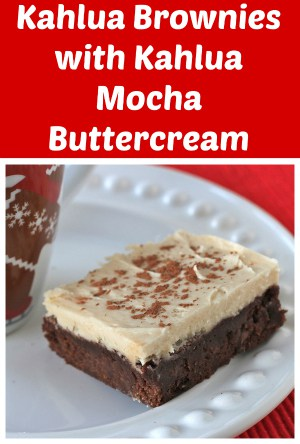 Kahlua Brownies with Kahlua Mocha Buttercream