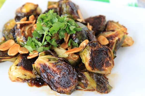 sriracha & honey glazed roasted brussels sprouts - greens & chocolate