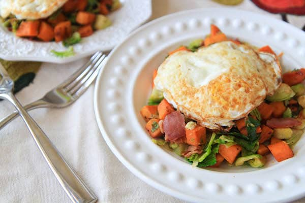 Sweet Potato, Brussels Sprout, and Bacon Hash | greens & chocolate