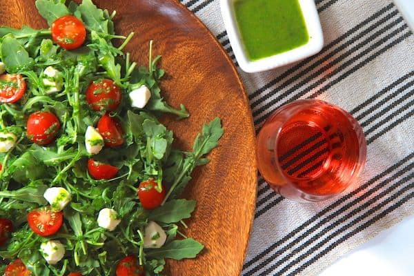 arugula caprese salad with basil vinaigrette | greens & chocolate