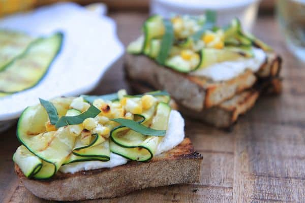 Grilled Zucchini and Corn Crostini with Lemon Basil Whipped Ricotta