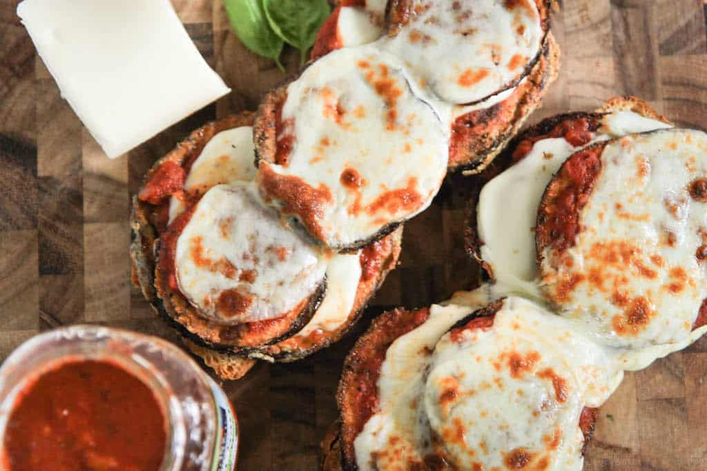 open faced eggplant parmesan sandwiches