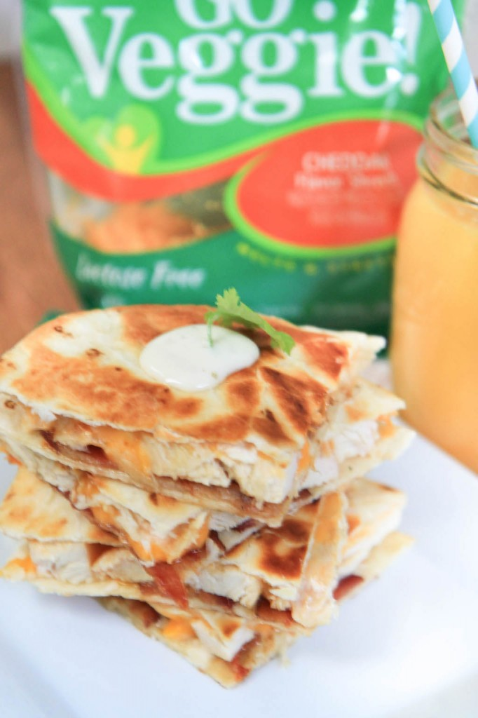 Chicken Bacon Ranch Quesadillas with GO Veggie! Cheddar Shreds