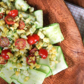 zucchini, corn, and tomato salad with basil vinaigrette