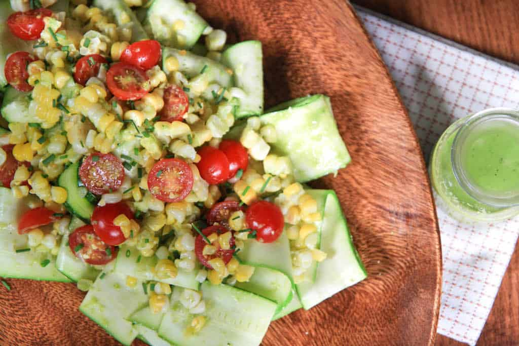zucchini, corn, and tomato salad with basil vinaigrette | greens ...