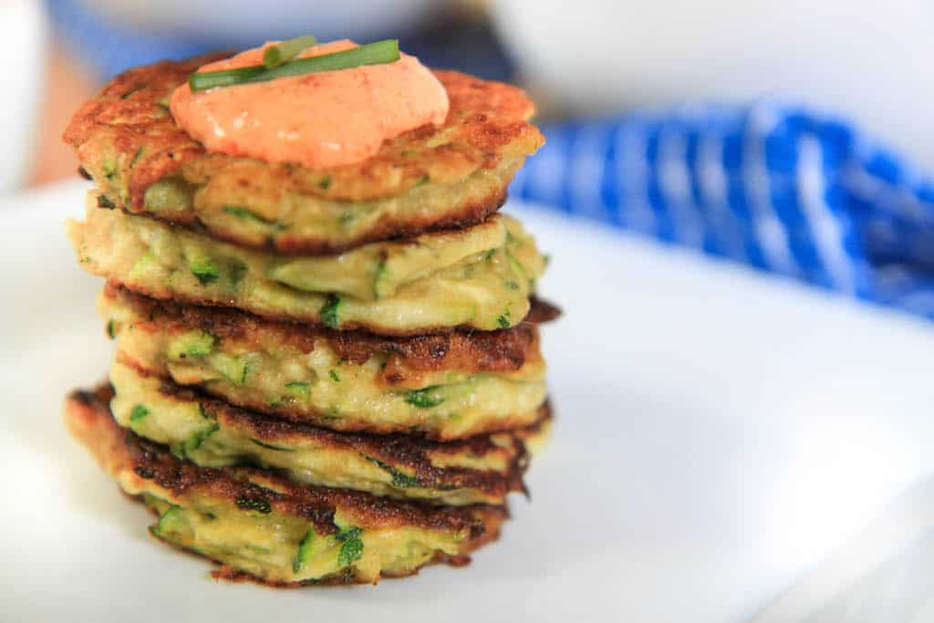 zucchini fritters with roasted red pepper dipping sauce | greens ...