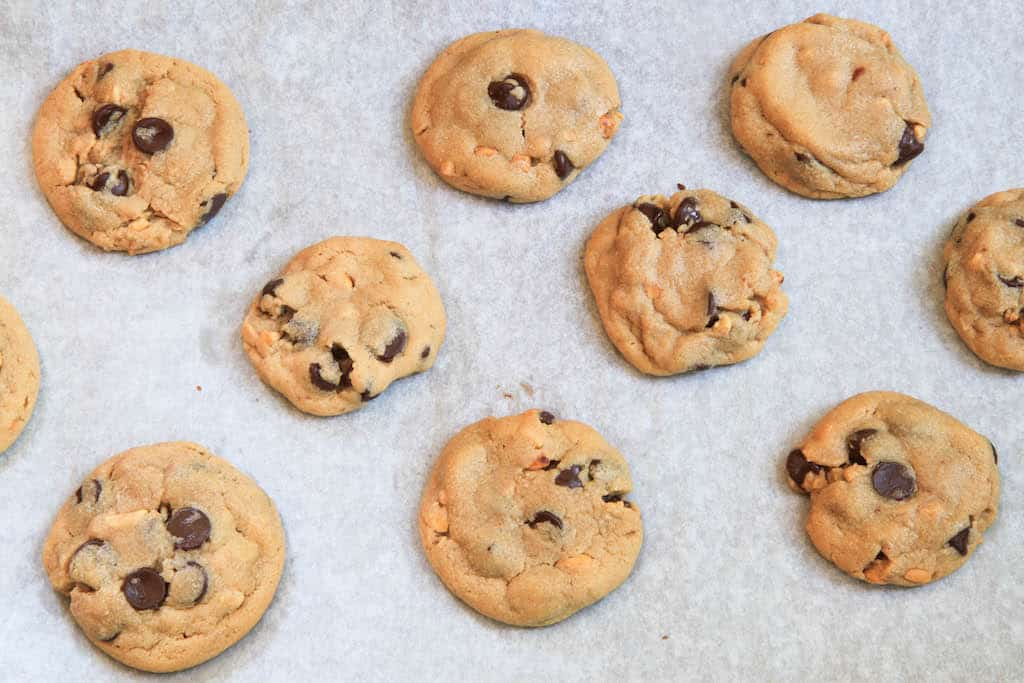 Soft but Crunchy Peanut Butter Chocolate Chip Cookies