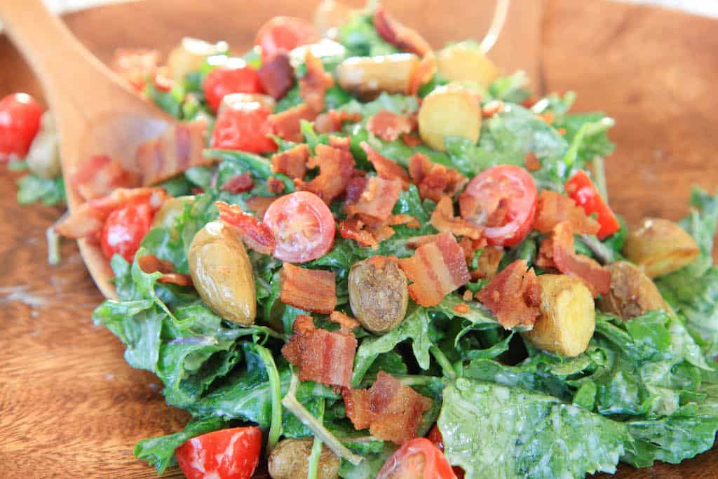 baby kale bacon and blue cheese salad-2