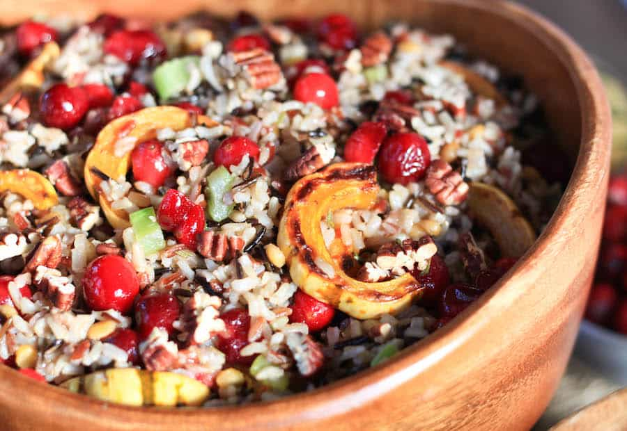cranberry and squash wild rice salad | greens & chocolate