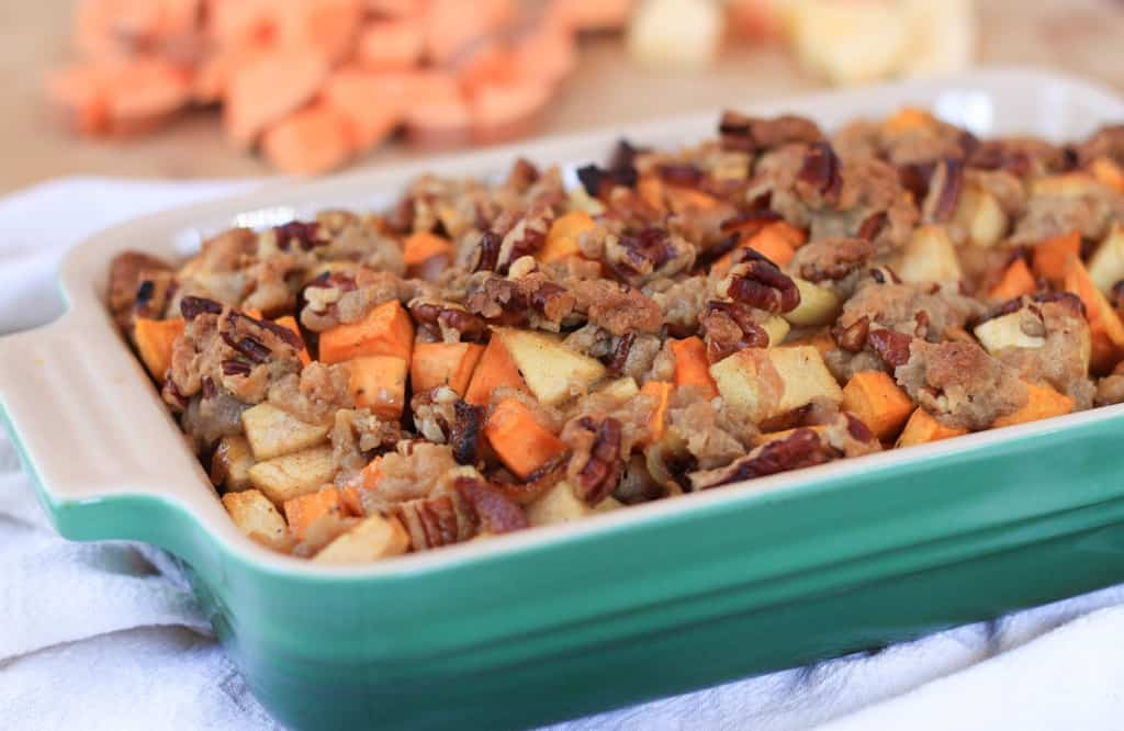 bacon and apple sweet potato casserole | greens & chocolate