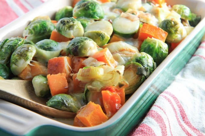 Butternut Squash and Brussels Sprout Gratin