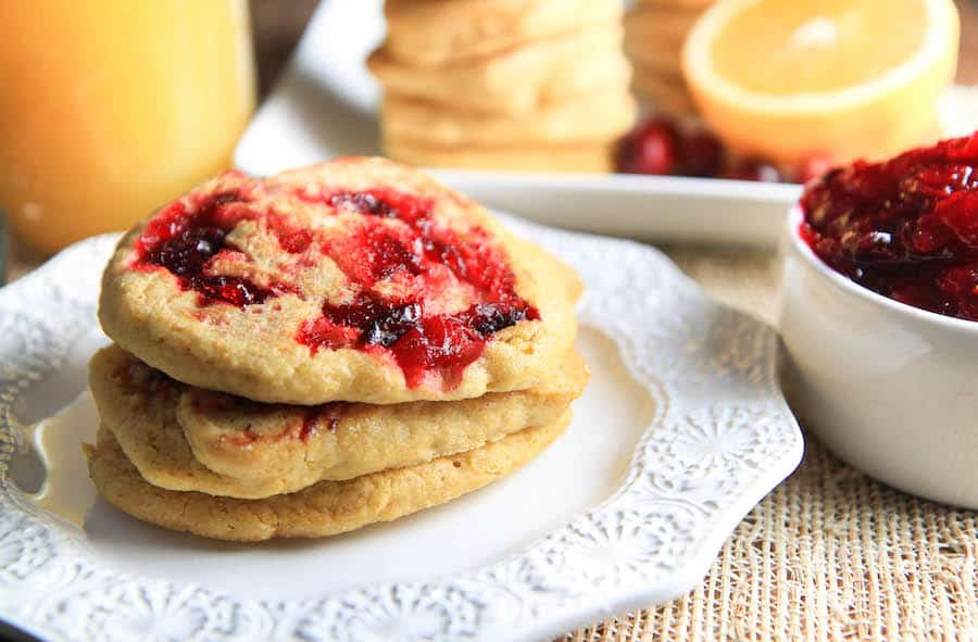 Cornmeal Pancakes with Cranberry  Sauce