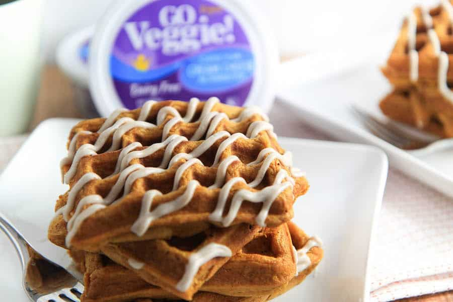 Pumpkin Waffles with Cinnamon Cream Cheese Drizzle