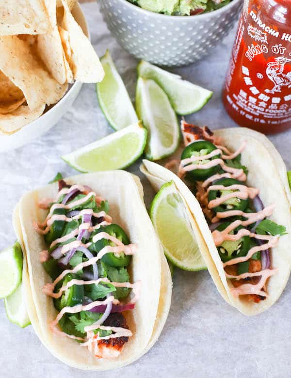 Salmon Tacos with Sriracha Cream Sauce