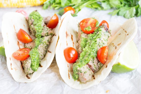 Cilantro Pesto Steak Tacos
