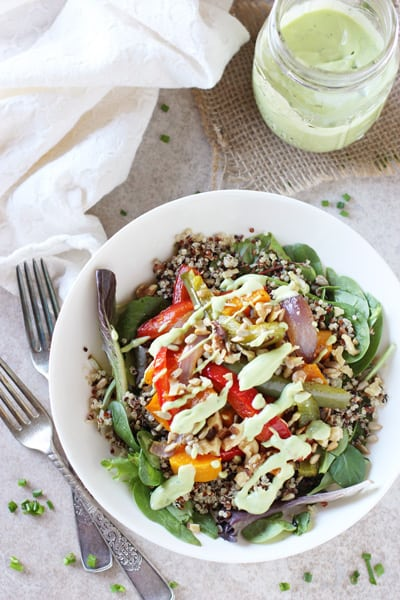 Roasted Rainbow Veggie Salad with Quinoa