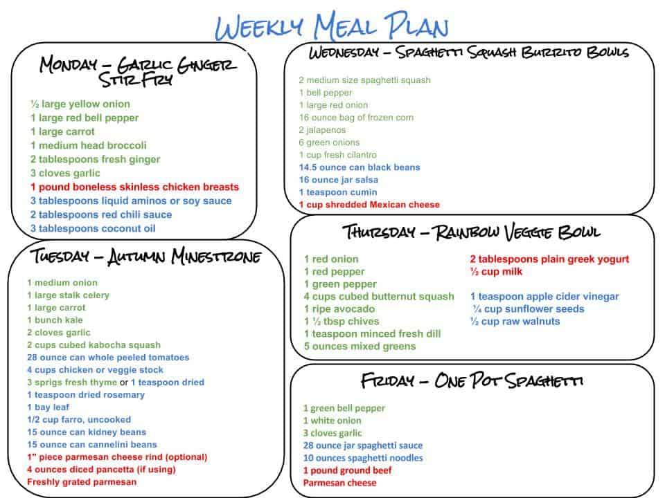 Healthy Weekly Meal Plan   Flavor The Moments
