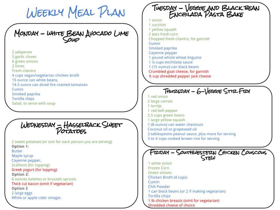 Healthy Weekly Meal Plan - 9.19.15 - Cook Nourish Bliss