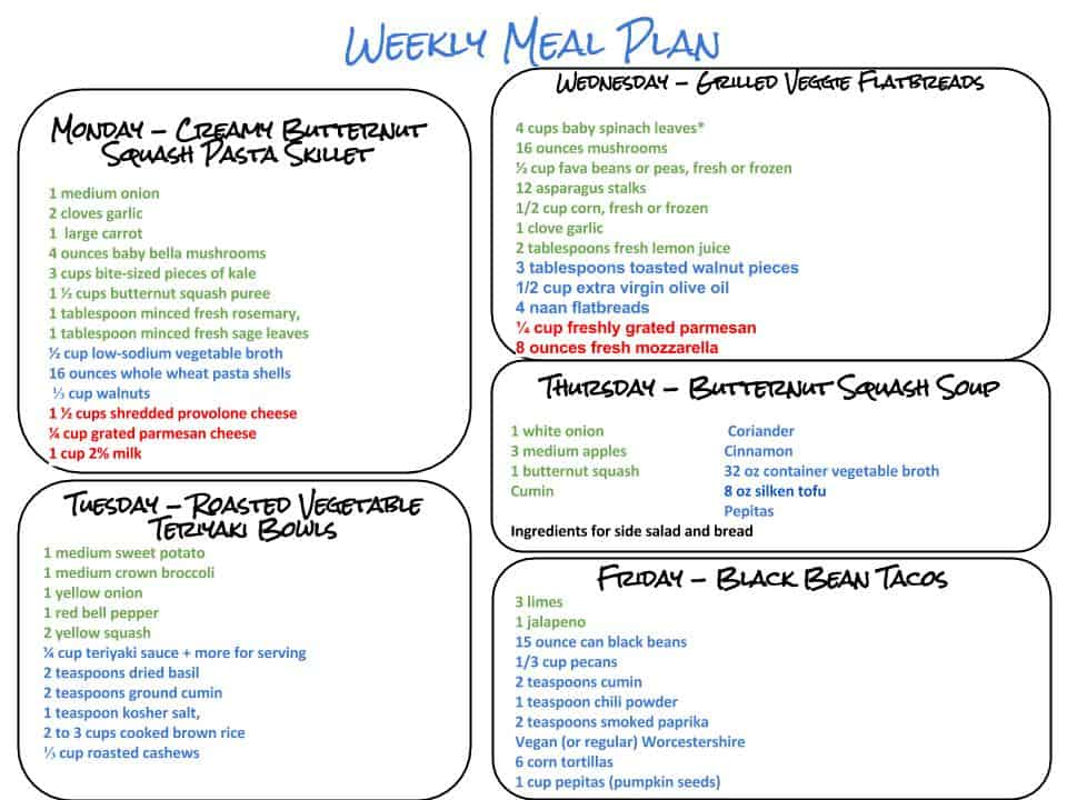 Weekly Meal Plan and Grocery List 9.26