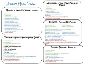 Weekly Meal Plan and Grocery List 10.24