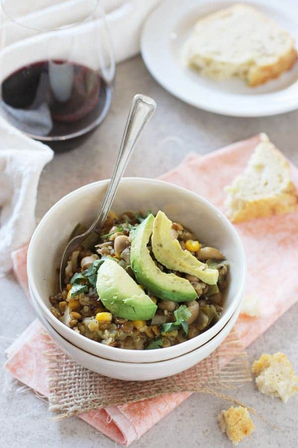 White Bean Salsa Verde Chili with Lentils and Quinoa