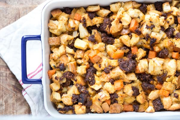 Chorizo Sweet Potato and Apple Stuffing | greens & chocolate