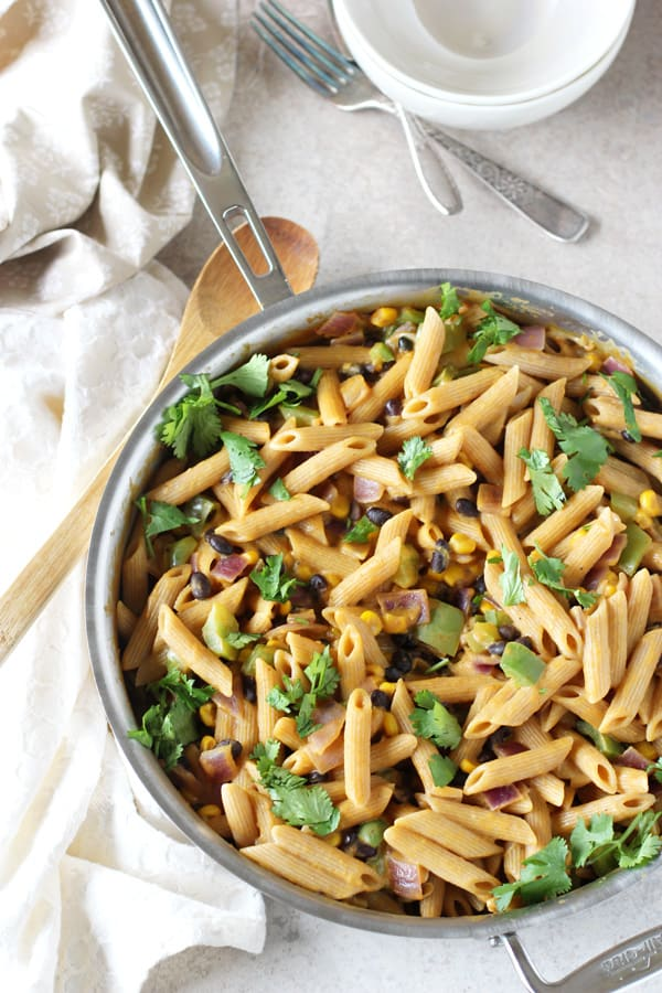 Creamy Sweet Potato and Black Bean Pasta Skillet