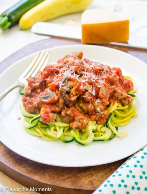 Zucchini and Yellow Squash Noodles with Turkey Bolognese