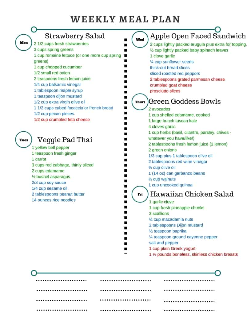 Printable Meal Plan Grocery List