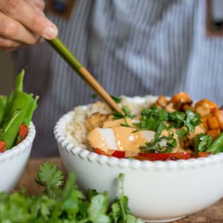 Thai Peanut Turkey Rice Bowls