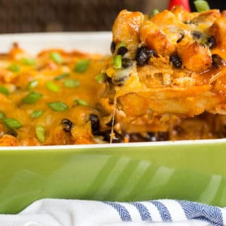 Butternut Squash and Black Bean Enchilada Casserole