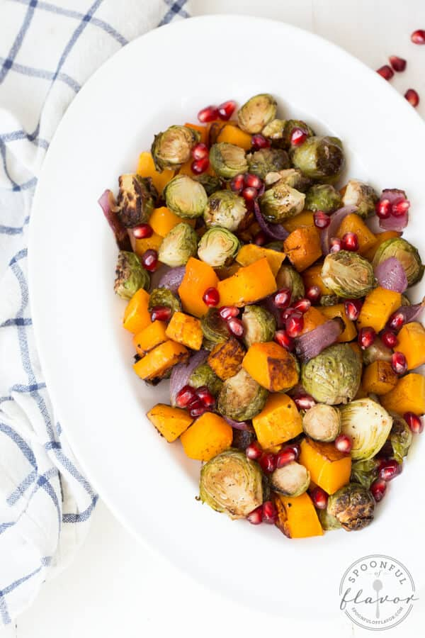 Balsamic Roasted Butternut Squash and Brussels Sprouts with Pomegranate
