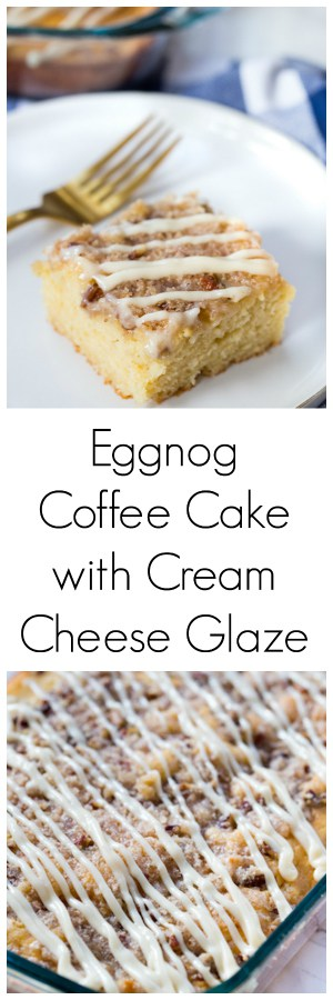 Eggnog Coffee Cake with Cream Cheese Glaze