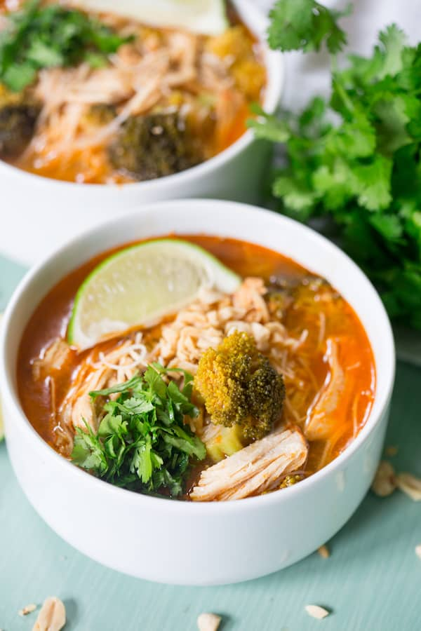 Slow Cooker Thai Coconut Chicken Noodle Soup | greens ...