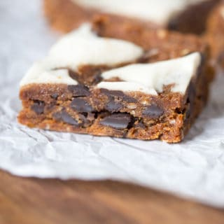 Cream Cheese Swirled Almond Butter Oatmeal Chocolate Chunk Bars