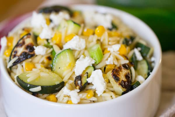 Grilled Zucchini and Corn Orzo Salad