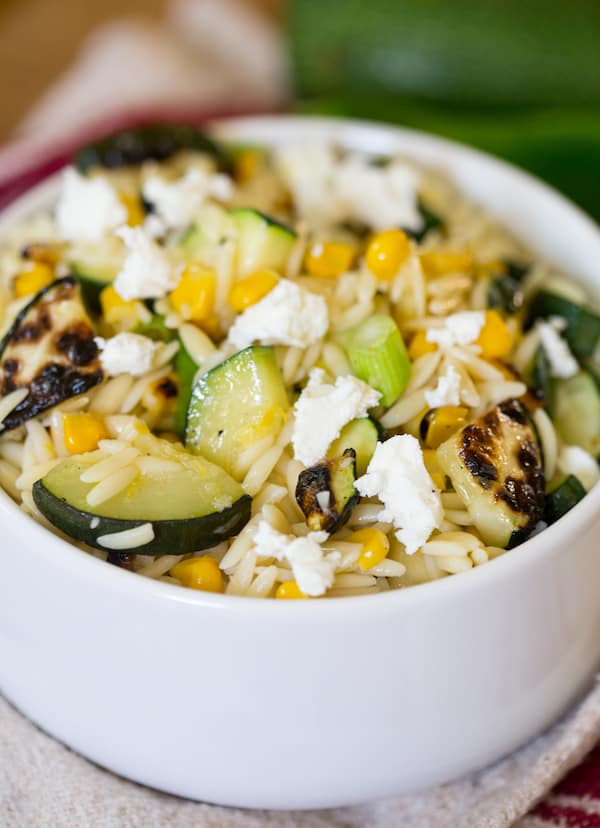Grilled Zucchini and Corn Orzo Salad | greens & chocolate