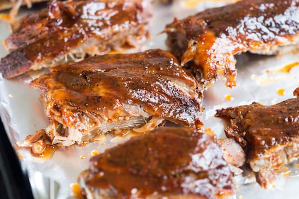 Slow Cooker Honey Bourbon Glazed Spare Ribs