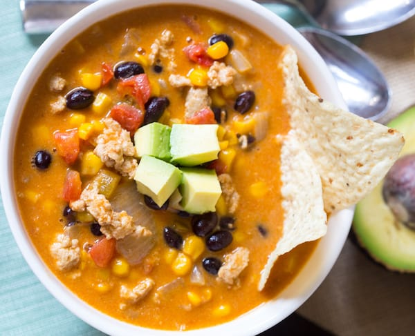 Cheesy Chicken Taco Soup