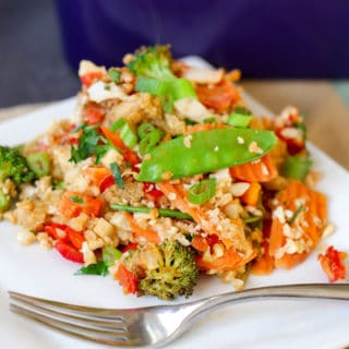 Thai Peanut Chicken Quinoa Bake