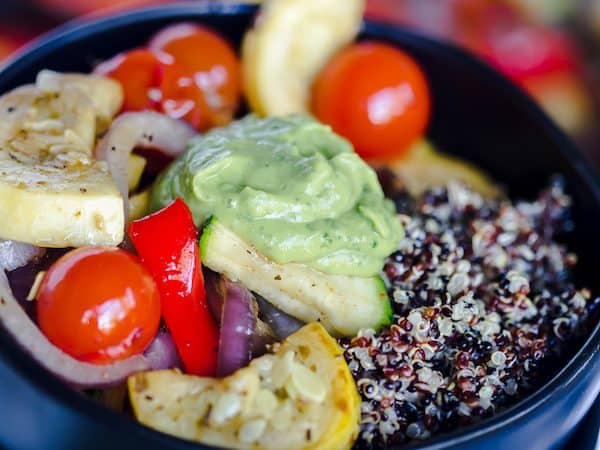 Grilled Summer Vegetable Quinoa Bowls with Avocado Basil Sauce