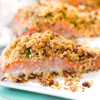 pecan crunch topped salmon