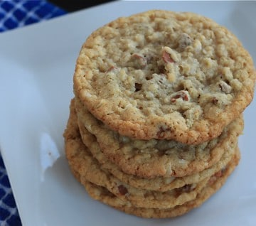Closeup on the Oatmeal Coconut and Cinnamon Chip Cookies served and ready for the first bite